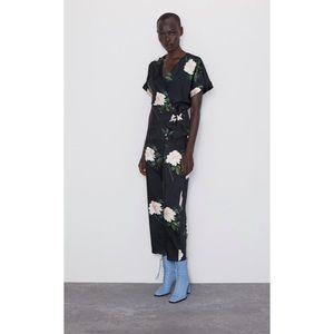 Zara Black Floral Jumpsuit